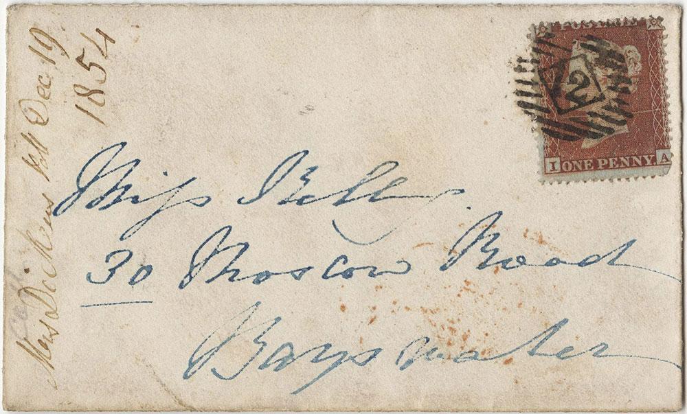 Envelope for ALs to Frances Maria Kelly