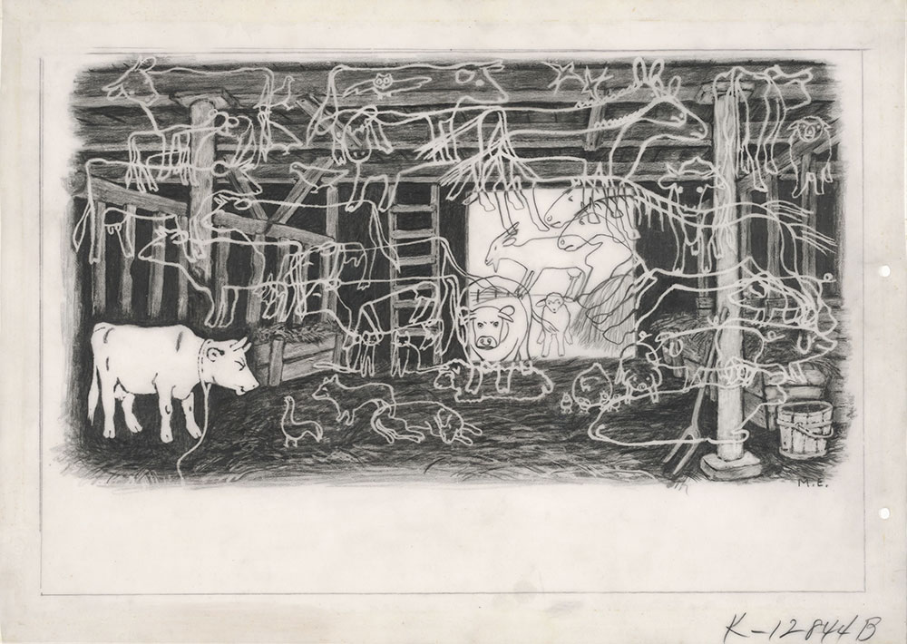 Ets - Drawing of Animals in a Barn