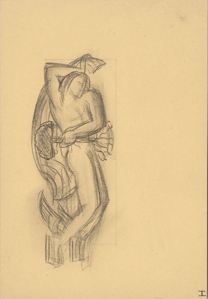 Milhous Sketch - Man with winged feet