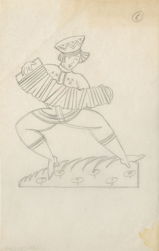 Milhous Sketch - Woman Playing Accordion