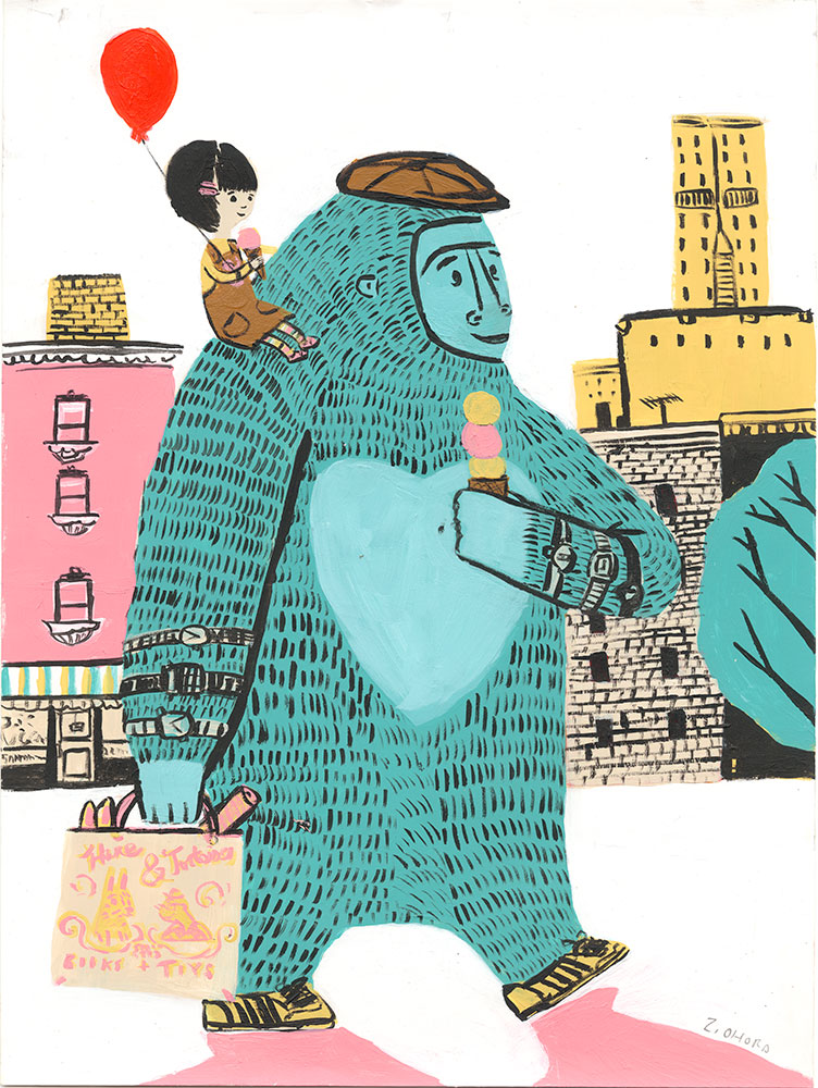 Ohora - Nilson and Amelia painting (Blue gorilla and girl with balloon)