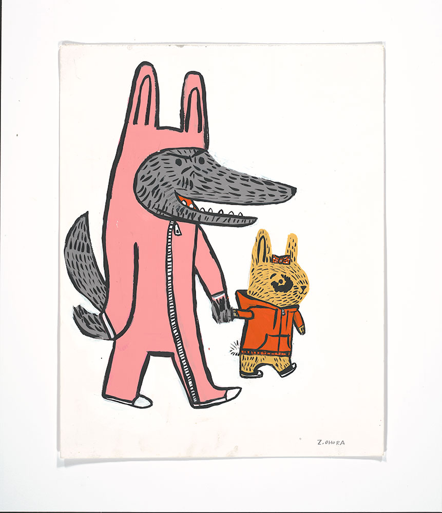 Ohora - Wolfie and Dot (Wolf in pink bunny outfit with bunny in red hoodie)