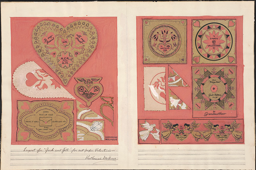 Milhous - Cut-work valentine, published in