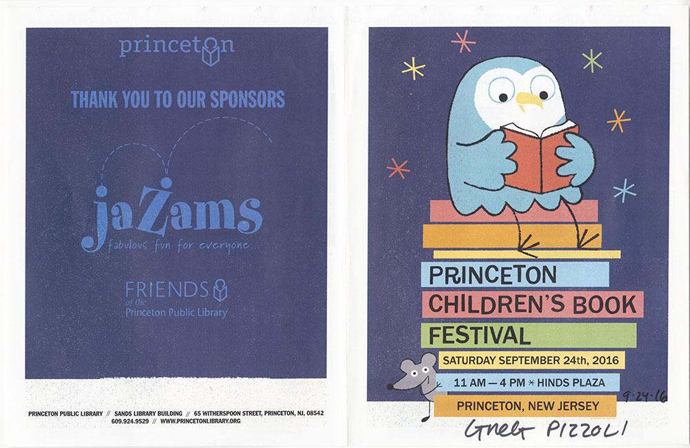 Princeton Children's Book Festival, 2016 - Festival Guide - Outside (Pizzoli Autograph)