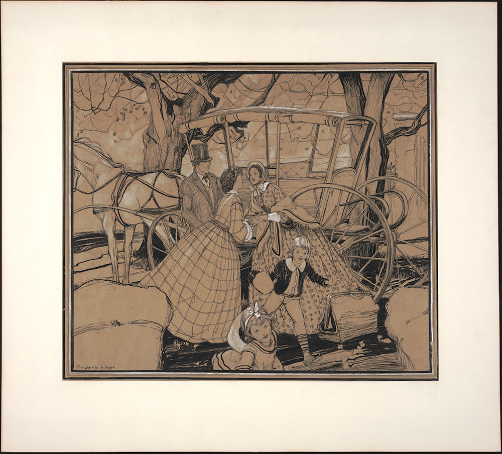 De Angeli - Magazine Illustration - Family and Carriage