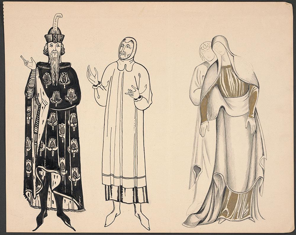 MacKinstry - Three figure Studies in medieval costume