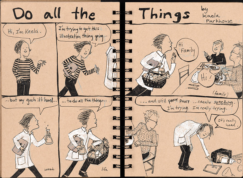 SCBWI Eastern Pennsylvania Traveling Sketchbook - Page 12 and Page 13