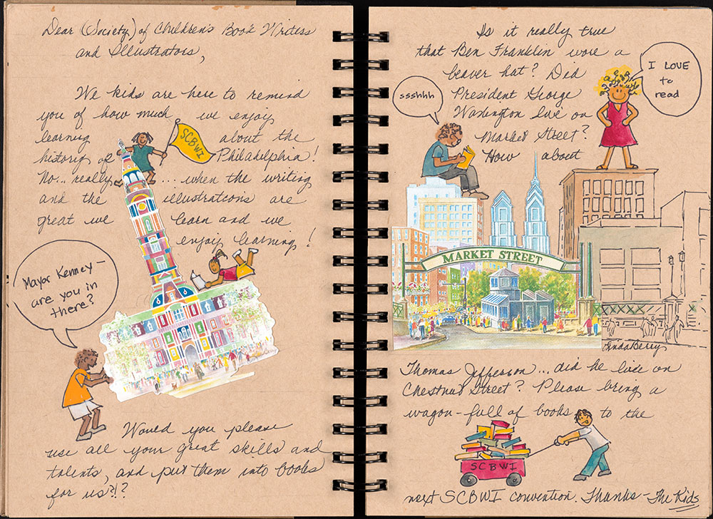 SCBWI Eastern Pennsylvania Traveling Sketchbook - Page 14 and Page 15
