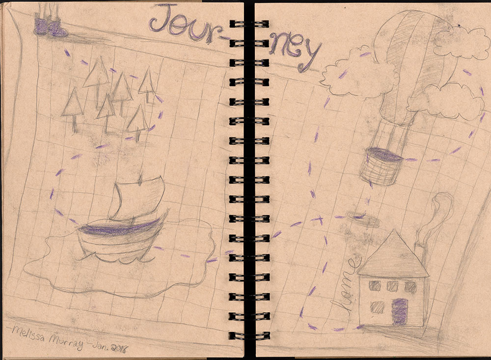 SCBWI Eastern Pennsylvania Traveling Sketchbook - Page 18 and Page 19