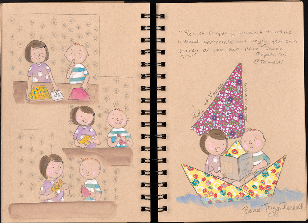 SCBWI Eastern Pennsylvania Traveling Sketchbook - Page 20 and Page 21