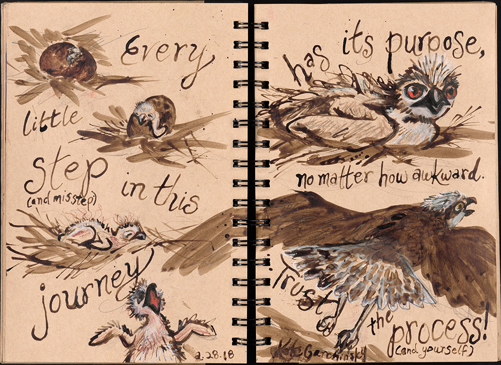 SCBWI Eastern Pennsylvania Traveling Sketchbook - Page 26 and Page 27