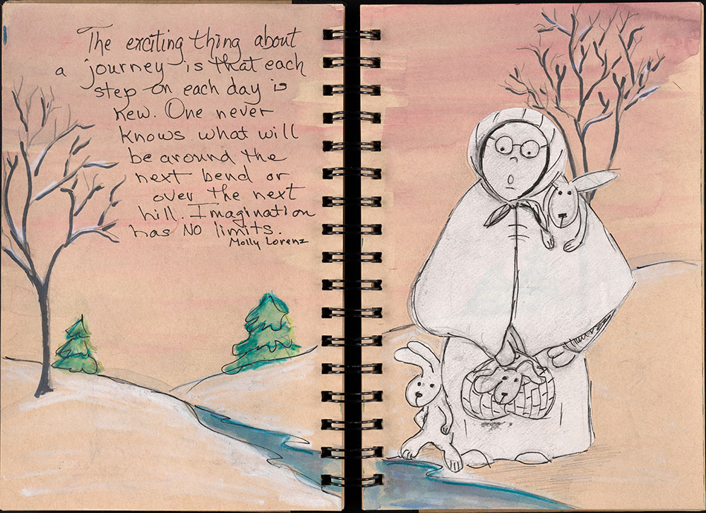 SCBWI Eastern Pennsylvania Traveling Sketchbook - Page 32 and Page 33