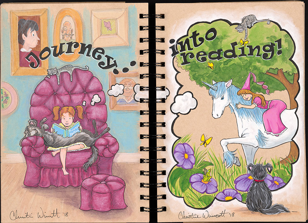 SCBWI Eastern Pennsylvania Traveling Sketchbook - Page 40 and Page 41