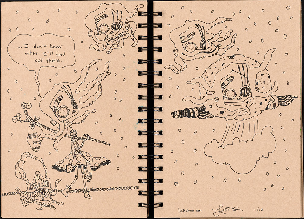 SCBWI Eastern Pennsylvania Traveling Sketchbook - Page 54 and Page 55