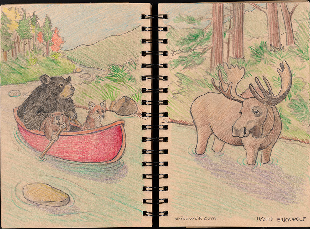 SCBWI Eastern Pennsylvania Traveling Sketchbook - Page 56 and Page 57