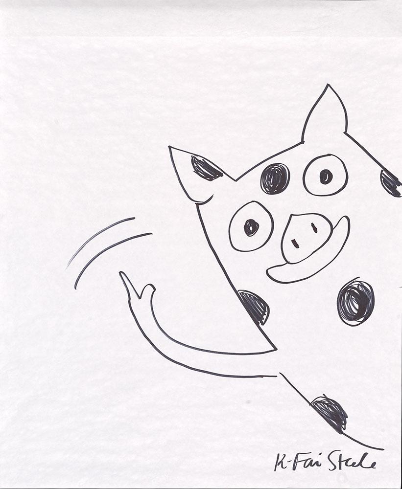 Steele - A Normal Pig Sketch - Waving Hello