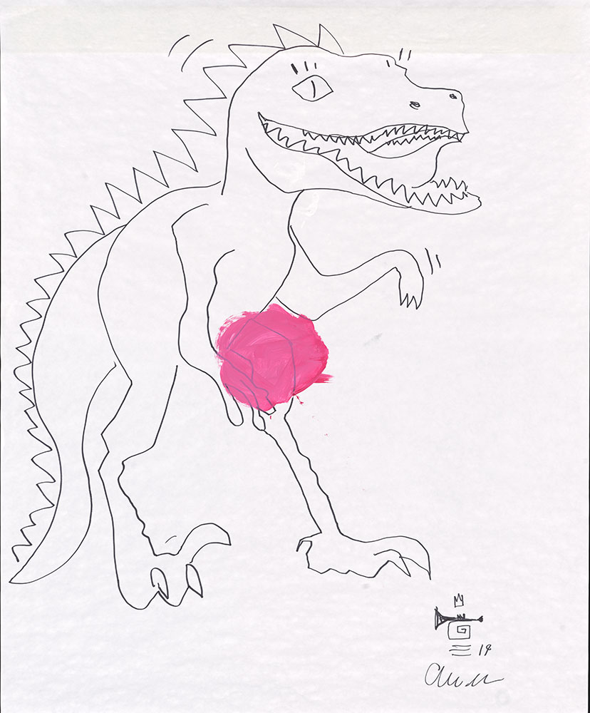 Esperanza - Red Yellow Blue (and a Dash of White Too!) - Dinosaur Sketch