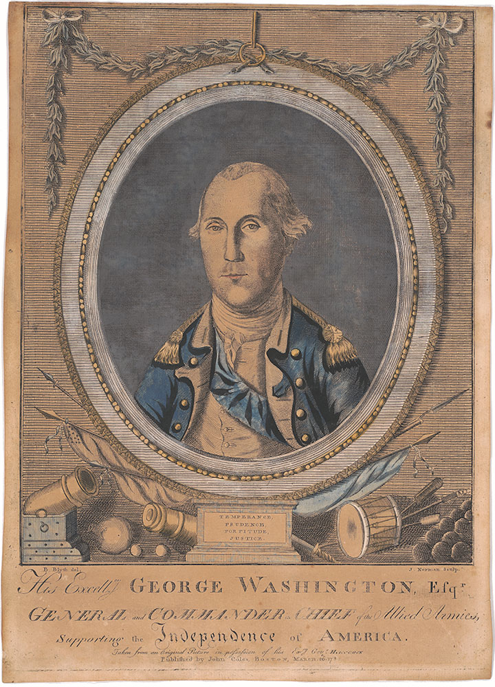 His Excellcy. George Washington, Esqr. General and commander in chief of the Allied Armies, supporting the independence of America. Taken from an Original Picture in posession of his Excy Govr. Hancock. / B. Blyth del. J. Norman sculp.