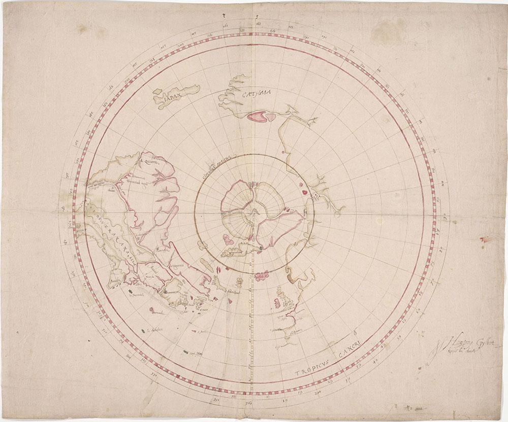 Gilbert, Sir Humphrey. Humfray Gylbert knight his charte. T.S.[i.e. John Dee] fecit. [ca.1582-1583]