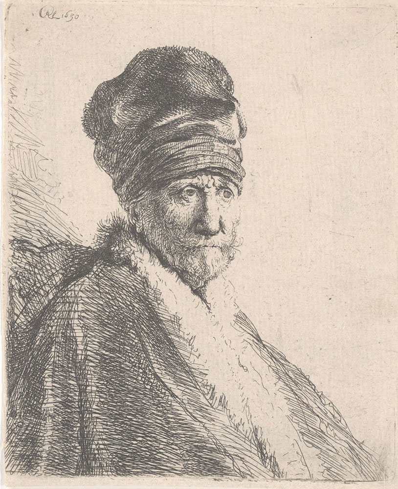 Bearded Man in a Furred Oriental Cap and Robe [Rembrandt's Father (?) Wearing a High Cap]
