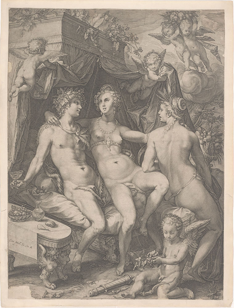 Venus Seated on a Bed between Bacchus and Ceres