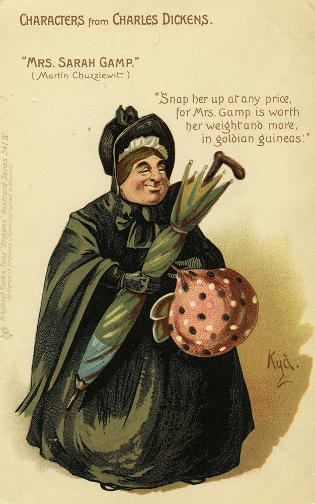 Characters From Charles Dickens - Mrs. Sarah Gamp Postcard
