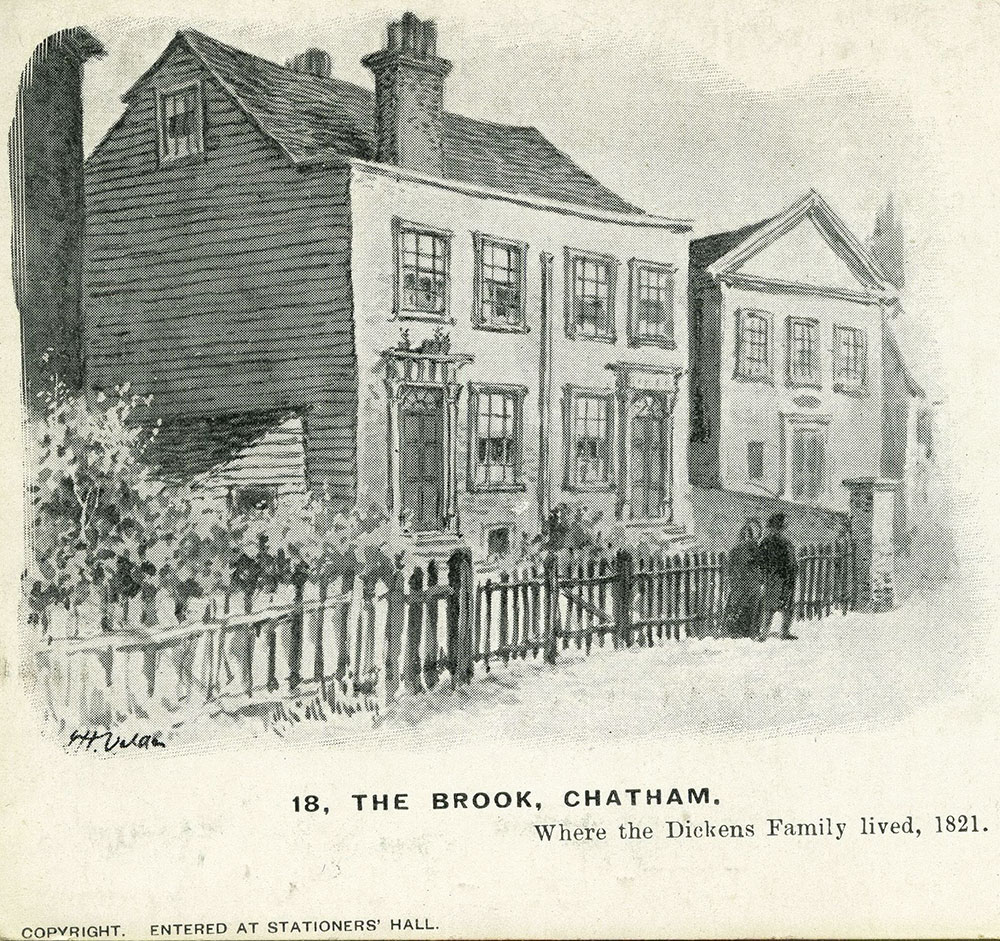 Dickens' Family Home at Chatham Postcard