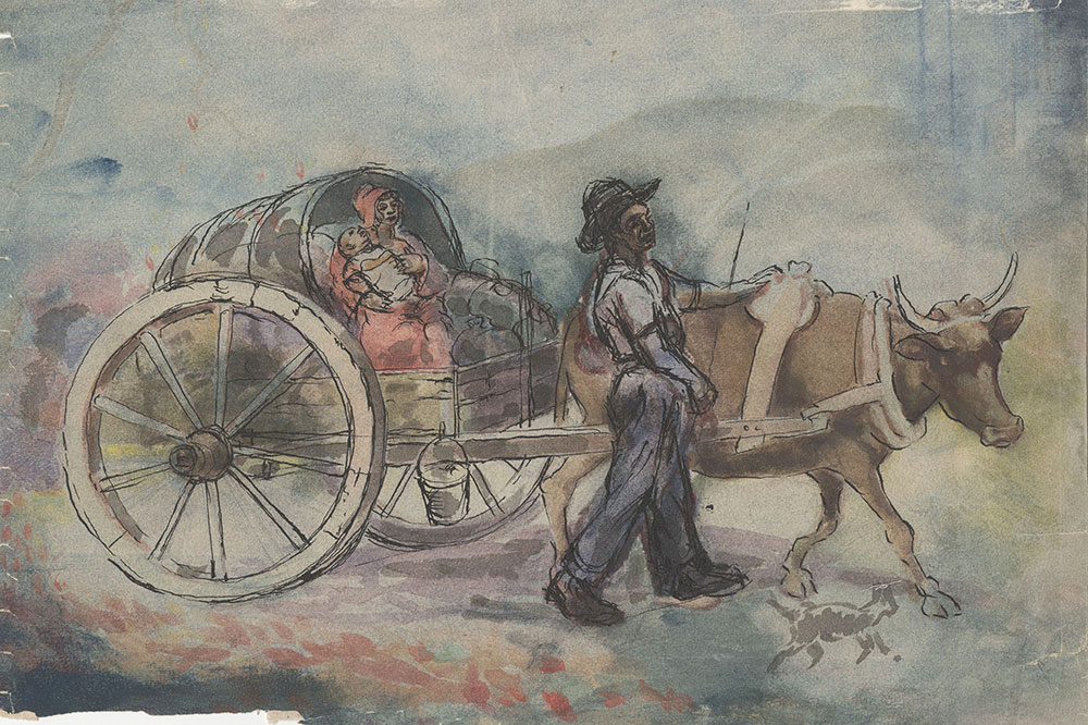 Untitled [Family in Carriage with Ox]