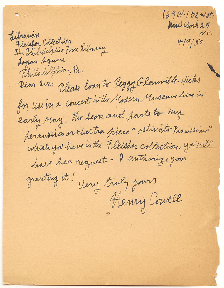 1952 04 09 Cowell to Fleisher Collection