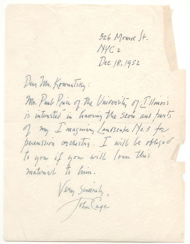 1952 12 18 Cage to Kownatsky
