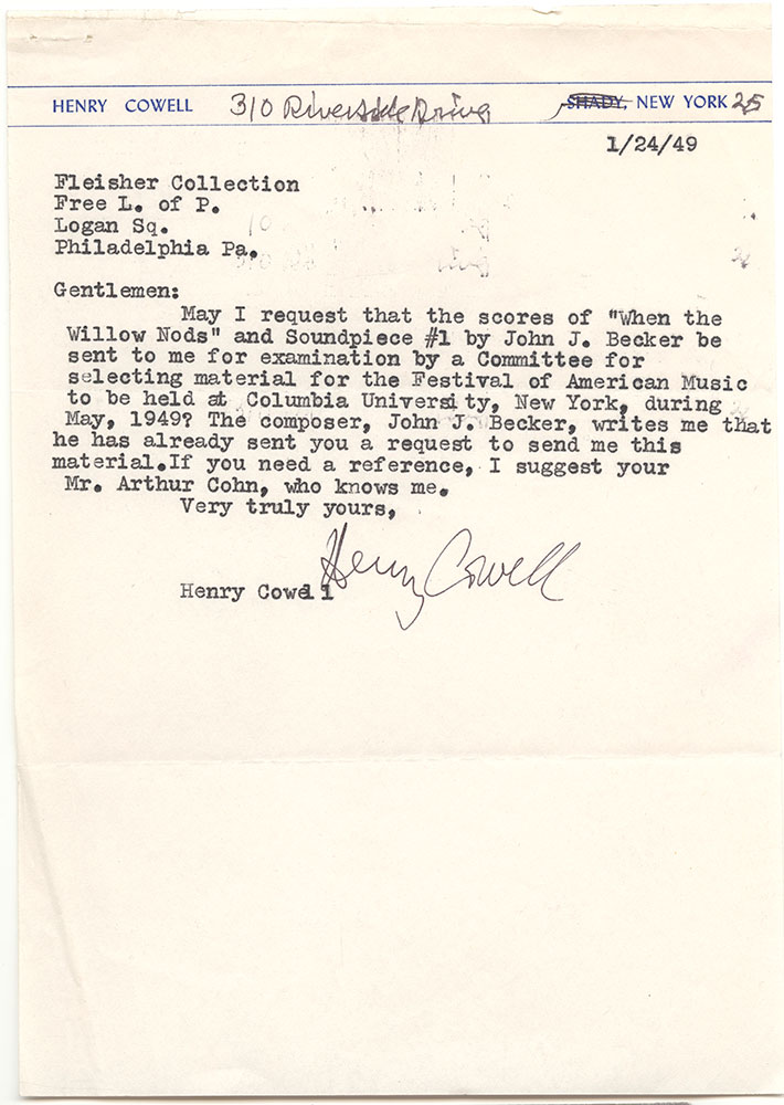 1949 01 24 Cowell to Fleisher Collection