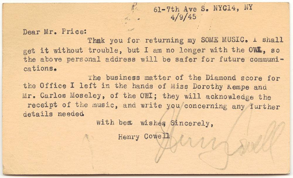 1945 04 09 Cowell to Price