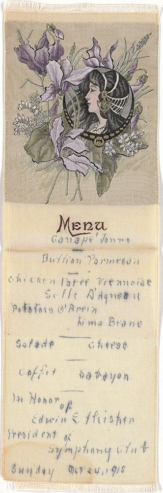 Embroidered silk menu