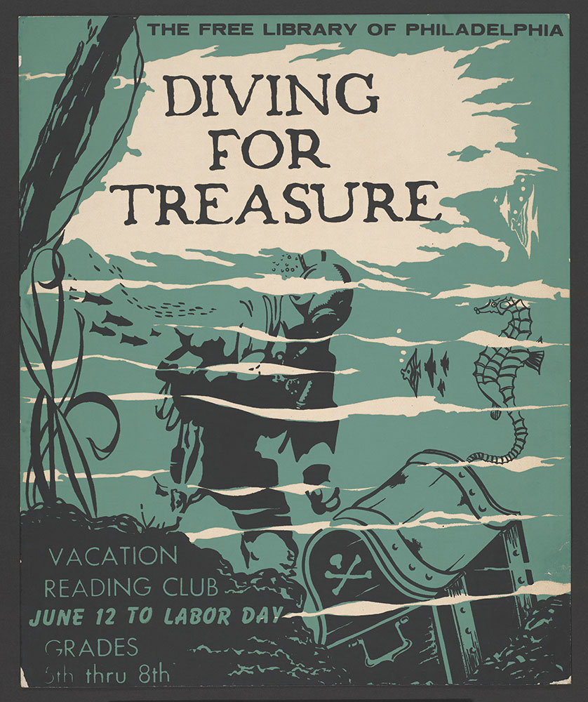 Undated - Vacation Reading Club - Diving for Treasure - Poster