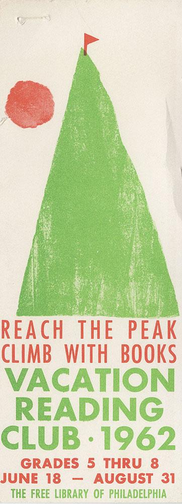 1962 - Vacation Reading Club - Reach the Peak - bookmark - recto