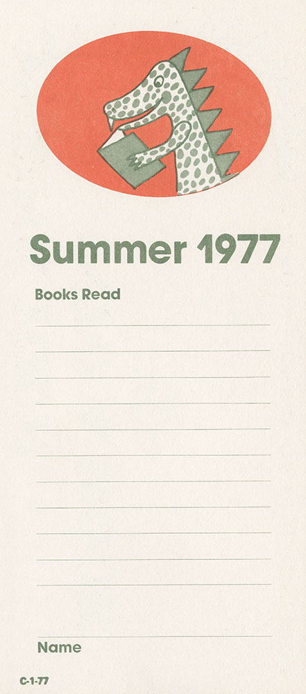 1977 - Vacation Reading Club - Sink Your Teeth Into a Book - Bookmark - verso