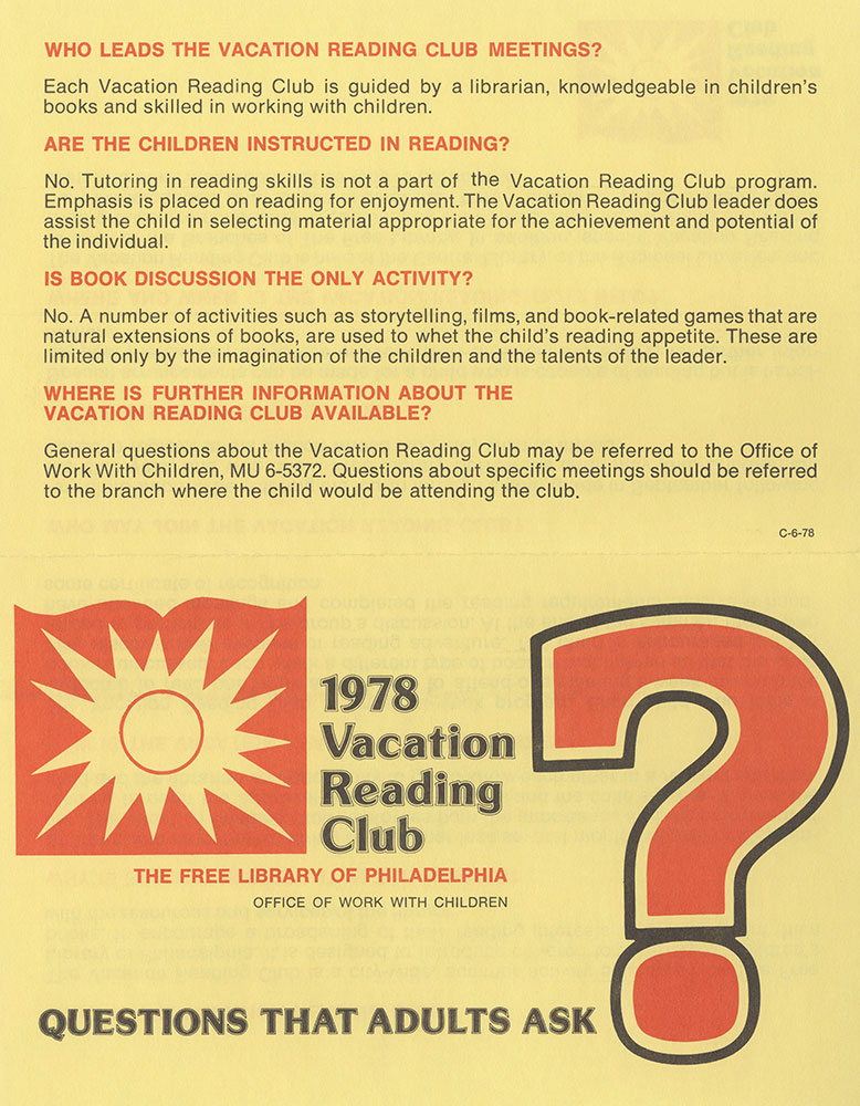 1978 - Vacation Reading Club - Questions That Adults Ask - recto