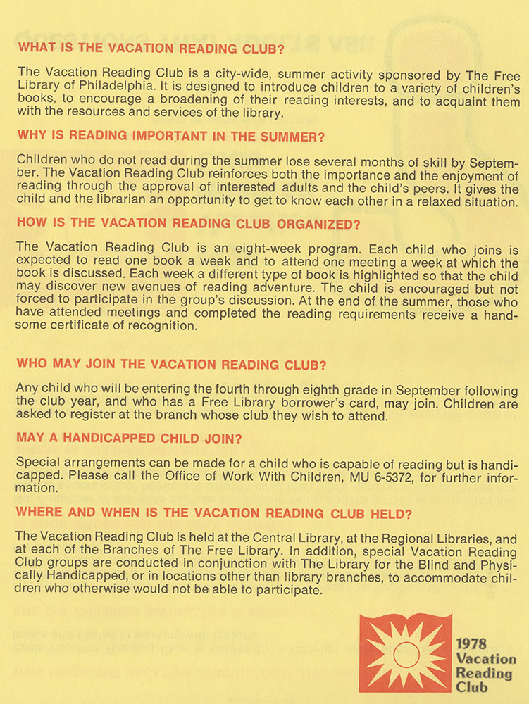 1978 - Vacation Reading Club - Questions That Adults Ask - verso