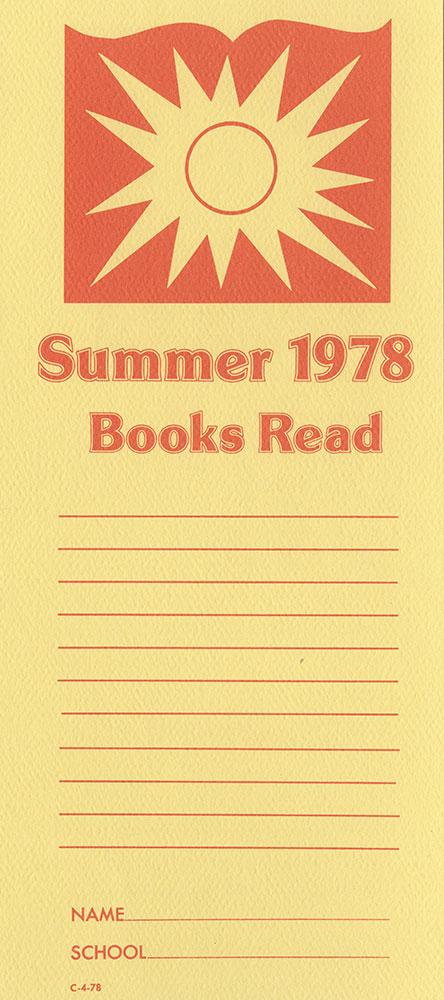 1978 - Vacation Reading Club - Bookmark - recto