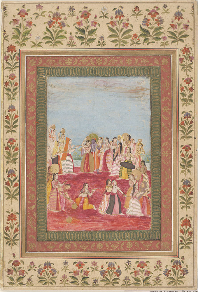 Krishna celebrating the Holi festival with gopis or milkmaids.