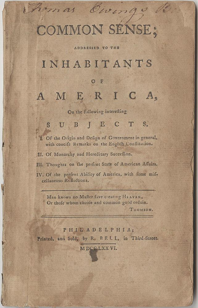 Common sense : addressed to the inhabitants of America, on
