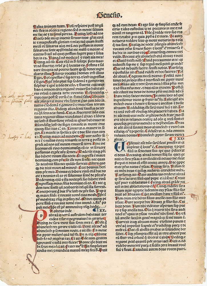 [Incunabula Leaf Latin Vulgate Bible]