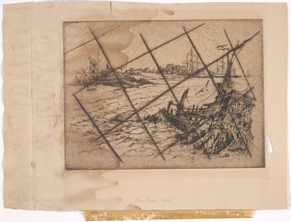 New York, 1675 canceled copper plate etching