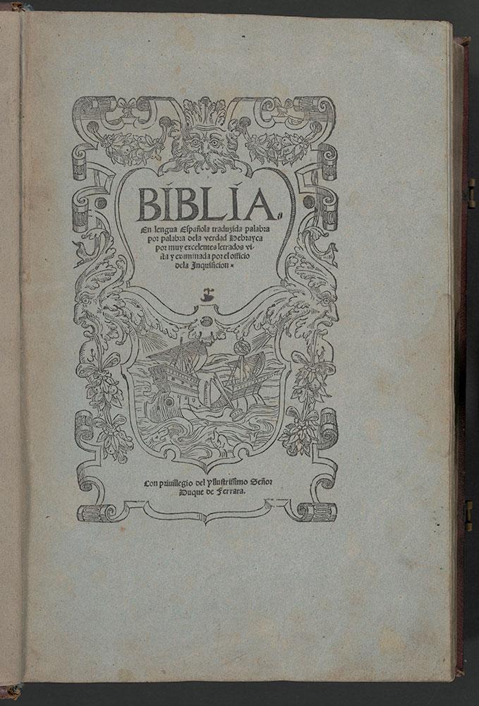 Ferrara Bible, title page