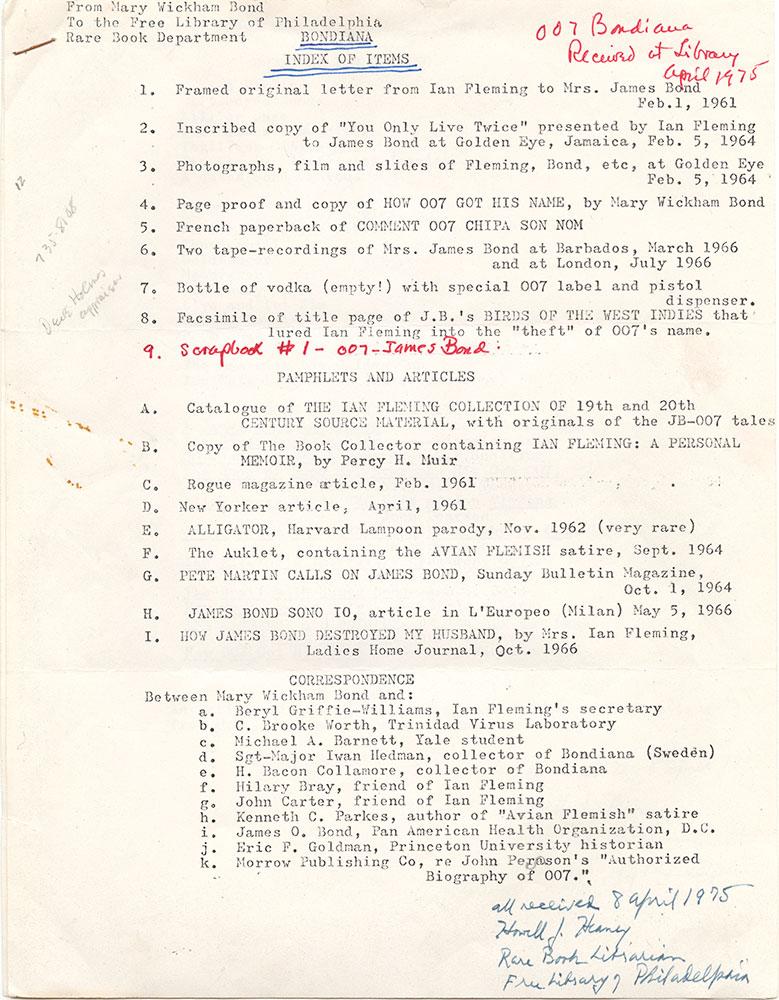 Bondiana Index of Items, page 1