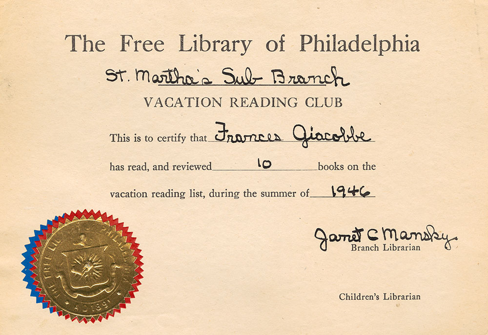 1946 - Vacation Reading Club - Frances Giacobbe Certificate of Completion