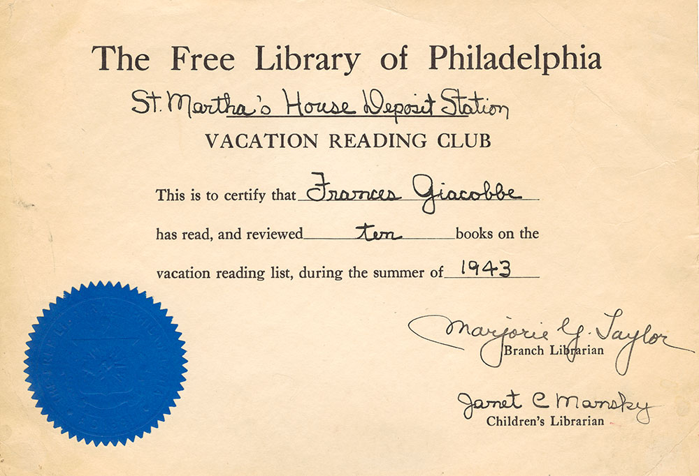 1943 - Vacation Reading Club - Frances Giacobbe Certificate of Completion