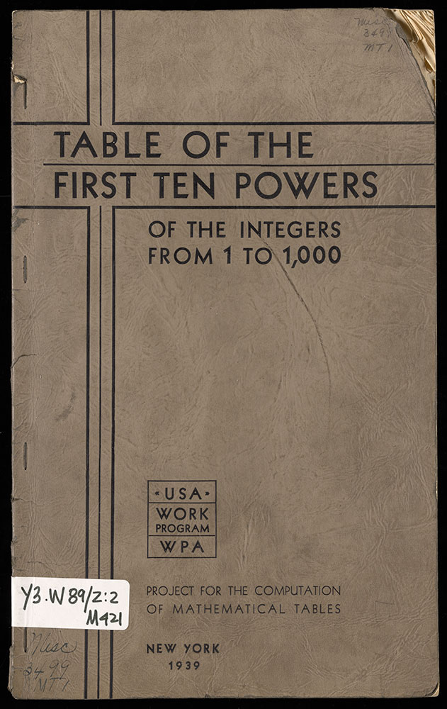 Table of the First Ten Powers of the Integers from 1 to 1,000