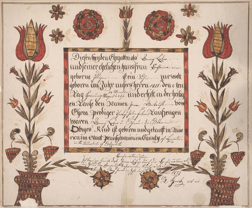 Birth and Baptismal Certificate (Geburts und Taufschein) for Jonas Laber