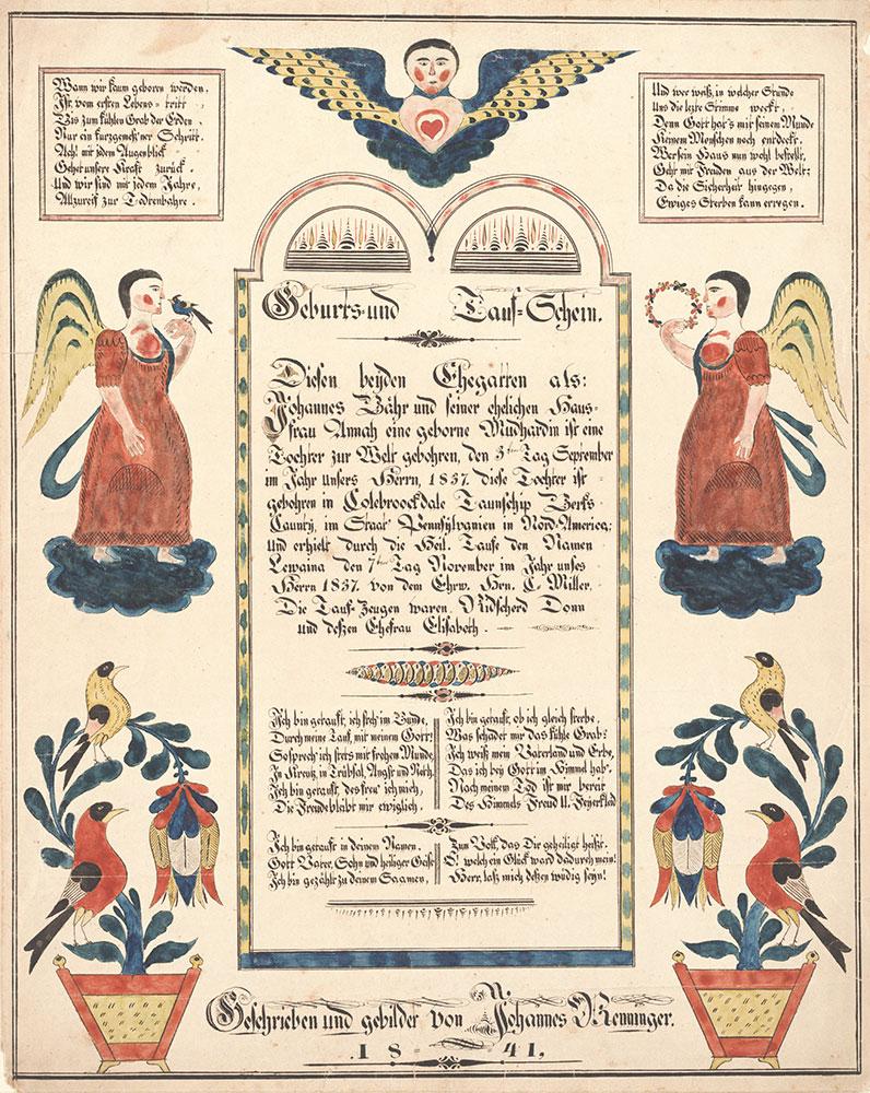 Birth and Baptismal Certificate (Geburts und Taufschein) for Lewaina Bähr